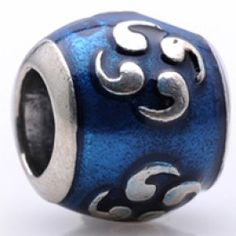 Silver Teal Blue Enamel Beads Charms   Fit pandora,trollbeads,chamilia,biagi and any customized bracelet/necklaces. #Jewelry #Fashion #Silver# handcraft #DIY #Accessory