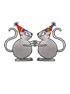 Two mice wearing celebration hats holding hands.