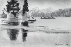 """Philip Koch, White Moutain Pond, vine charcoal, 9 x 12"""", 2014. A drawing I made on location in Franconia, New Hampshire in June '14. I used it as the basis for am oil painting of the same title."""