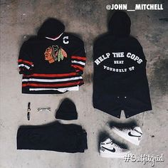 "outfitgrid1: ""Today's top #outfitgrid is by @john__mitchell. ▫️#Blackhawks #Jersey ▫️#JohnElliottCo #Hoodie ▫️#AcneStudios #Denim ▫️#NikeLab x #Supreme #AF1 ▫️#NorseProjects #Beanie """
