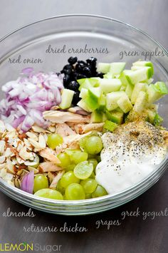 Healthy Chicken Salad Recipe- rotisserie chicken,  green apple, dried cranberries, green grapes, slivered almonds, greek yogurt,  lemon juice, garlic powder...