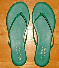91bd255375 Women s LC Lauren Conrad Pixii Flats Flip Flops Sandals Patent Green Size 7  NEW  LCLaurenConrad