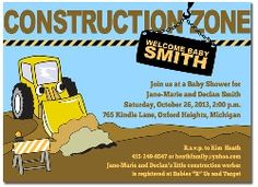 4498  Baby Shower Invitations Construction Zone Theme