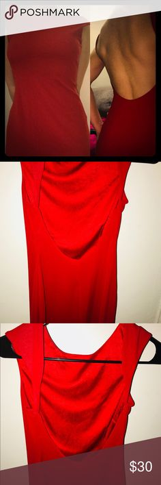 Beautiful Red Cocktail Dress! Red Alert 🚨 Sexy cocktail dress, you can use it for multiple occasions. The back has a stunning open back depending on your height is just around knee length.  If you are petite it's stunning and will for according to your body right under the knee.  This dress speaks for itself   Name your offer!  I don't mind trades either, I rather the dress get put to good use instead of sitting in my closet.  🎊 Dresses Midi