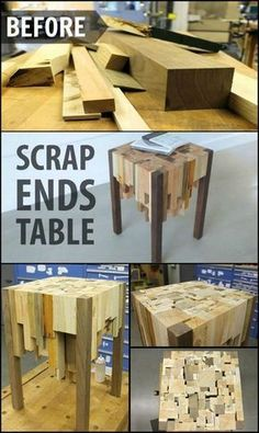 How To Build An End Table From Scrap Wood http://theownerbuildernetwork.co/wxx5 Got a pile of scrap wood in your workshop that you're thinking of throwing away? This project will make you think twice! Instead of trashing it, learn how to make this stylish end table!