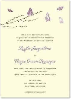 Signature Ecru Wedding Invitations - Butterfly Love Wedding Invitations by Wedding Paper Divas