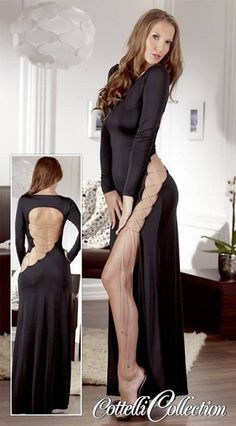 Cottelli Collection Long Sexy Dress 27124231020 via Love Temptation. Click on the image to see more!