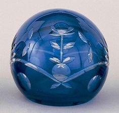 Glass Sphere Paperweight | Cobalt Blue Cut Glass Ball Paperweight