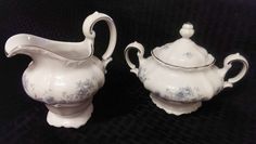 CREAMER & SUGAR BOWL Johann Haviland Blue Garland by MegsEndeavors
