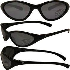 846b9e8f48 Birdz Hen Slim Line Riding Sunglasses With Black Frame And Smoke Lenses