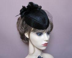 Black pillbox hat wedding funeral 1950s 1960s vintage style headpiece Ascot  races veiled percher fascinator evening cocktail formal headwear 1a44ed41373