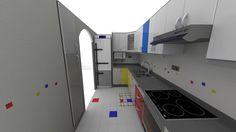 Industrial Design School project: Kitchen redesign in Solidworks. De Stijl-inspired. June 2013 [80h]