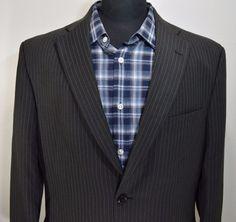 PRISTINE HAGGAR mens gray striped sport coat Blazer jacket size 42L 42 long L #haggar #TwoButton