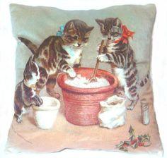 Retro Vintage cat kitten family friends Christmas by fairyland2000, $11.99