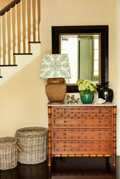 Thornton Designs: Sunny yellow cottage foyer with yellow grasscloth wallpaper framing black and gold ...