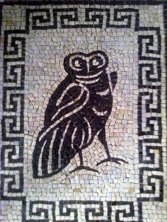 """La Civetta - riproduzione di un mosaico pavimentale romano.  III Concorso Internazionale """"L'Arte del Mosaico"""" Nazzano 2012"""