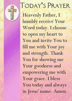 Today's Prayer Prayer Scriptures, Bible Prayers, Faith Prayer, God Prayer, Power Of Prayer, Angel Prayers, Catholic Prayers, Bible Verses, Sunday Prayer