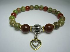Pretty Heart Charm Bracelet, Green Unakite, Red Agate Bracelet, Recovery Bracelet, Calming Healing Protection, Silver and Gold Bracelet by ArtistryJewels on Etsy