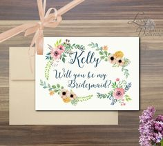 Will You Be My Bridesmaid Card, Bridesmaid Gift, Personalized Wedding Bridesmaid Card with Bohemian Floral Decoration Be My Bridesmaid Cards, Will You Be My Bridesmaid, Bridesmaids, Floral Wedding, Rustic Wedding, Wedding Cards, Wedding Invitations, Cool Landscapes, Nursery Prints