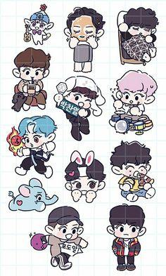 Chanyeol <credits to owner> Exo Stickers, Cute Stickers, Chansoo, Chanbaek, Cocktail Illustration, Exo Anime, Exo Fan Art, Kawaii, Exo Chanyeol
