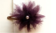 DIY tulle flower hair clip, two ivory, one purple.  Ivory pearl in center of all