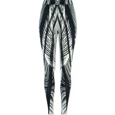 River Island Black Georgia Hardinge abstract leggings ($10) ❤ liked on Polyvore featuring pants, leggings, leigh, little mix, river island, sale, high-waisted trousers, high rise pants, high-waisted leggings and high waisted leggings