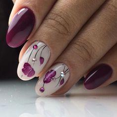 20 Blumen Nail Art Designs - Nageldesign & Nailart - New Ideas Nail Art Violet, Purple Nail Art, Purple Glitter, Spring Nail Art, Spring Nails, Summer Nails, Autumn Nails, Beautiful Nail Art, Gorgeous Nails