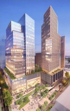 Images showing plans for a housing and office complex at the Apex site in downtown Bethesda. Green Building, Multi Story Building, Modern Aprons, Skyscrapers, Towers, Cool Places To Visit, Maryland, Cities, Modern Design