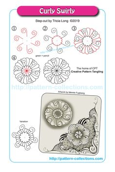 Curly Sirly by Tricia Long Zentangle Drawings, Doodles Zentangles, Doodle Drawings, Doodle Art, Zen Doodle, Tangle Doodle, Tangle Art, Doodle Patterns, Zentangle Patterns