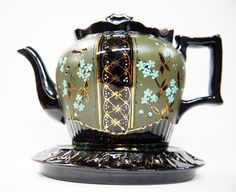 Victorian Antique Staffordshire Teapot and Trivet Hand Painted 1900s.