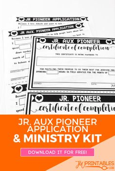 Jr Auxiliary Pioneer Application! Plus a lot of other fun ministry goodies. #jw