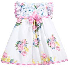 Monnalisa Baby Girls White Floral Print Cotton Dress at Childrensalon.com