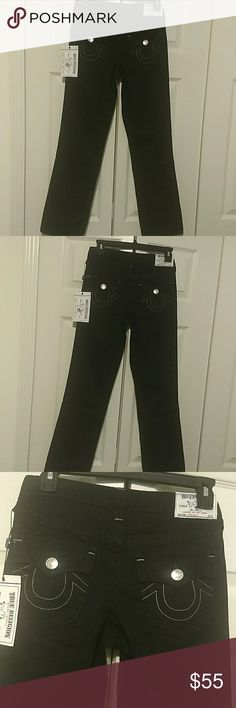TRUE RELIGION JEANS True Religion Black Jeans with 5 pockets. Three pockets in the front. Two back pockets with silver buttons and True Relgion Symbol.Silver studs on the front pockets and silver button.  NWT True Religion Bottoms Jeans