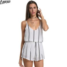 82342e39fac Choies Sexy Women White Stripe Spaghetti Strap V Neck Casual Sun Romper  Playsuit…