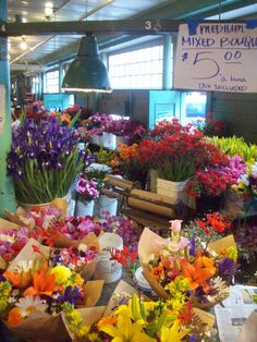 Pike Place Market-Seattle WA - rows and rows of beautiful flowers at incredible prices!