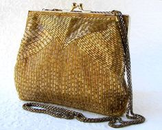 Antique Art Nouveau Gold T Frame Hand Knit Brown Iridescent Bead Fringe Purse Top Watermelons Vintage