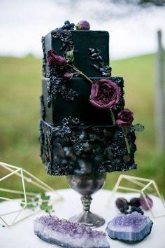 Black Wedding Cake with Purple Sugar Flowers — from Moody and Dramatic Wedding Ideas - photo by Chantal Routhier Photography Fondant Wedding Cakes, Purple Wedding Cakes, Wedding Cake Toppers, Gothic Wedding Cake, Gothic Cake, Chic Wedding, Wedding Scene, Farm Wedding, Wedding Rings