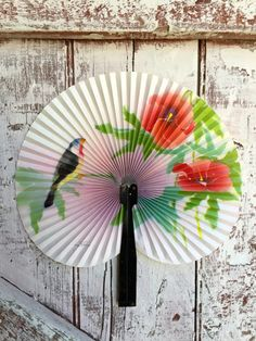 Vintage Folding Paper Fan with metal handle Chinese Hand Fan Peoples Republic of China Asian Bird Fan