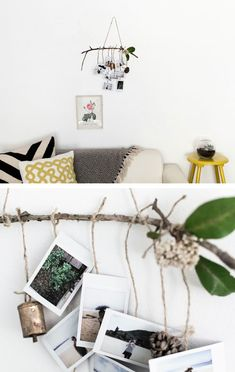 Go grab some special things and throw together this awesome boho photo mobile! It's completely personalized art made from your photos and trinkets.