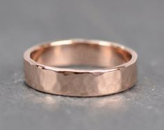 14K Rose Gold Mens Wedding Band 5mm Wide Ring by seababejewelry