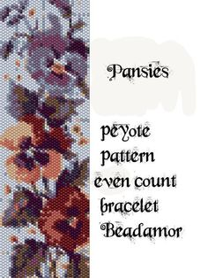 Peyote Pattern for bracelet: Pansies - INSTANT DOWNLOAD pdf by Beadamor on Etsy