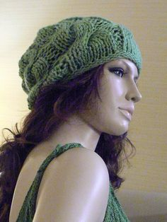 Womens Cable Slouchy Slouch Hat in Soft Leaf by mckelveydalton, $35.00