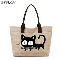 af26f0b7f7 Women Shoulder Bag Canvas Big Capacity Linen Shopping Tote Cute Embroidery  Cat Cartoon Cotton Beach Bag