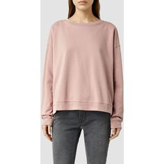 AllSaints Lo Crew Sweatshirt (470 SAR) ❤ liked on Polyvore featuring tops, hoodies, sweatshirts, rose pink, crewneck sweatshirt, crew neck top, pink crewneck sweatshirt, pink crew neck sweatshirts and crew sweatshirt