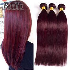 Brazilian Virgin Hair Straight 3 Bundles Burgundy Brazilian Hair Weave Bundles 99j