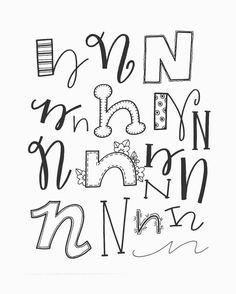 Handlettering - Letter N inspiratie - Doodle Fonts, Doodle Lettering, Creative Lettering, Lettering Styles, Brush Lettering, Hand Lettering Alphabet, Calligraphy Letters, Graffiti Alphabet, Caligraphy