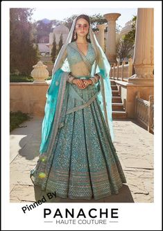 Firozi Blue Lehenga from Sabyasachi's 2019 Spring / Summer Collection. For customisation please contact our sales team through WhatsApp 61470219564 Indian Lehenga, Sabyasachi Lehenga Bridal, Blue Lehenga, Lehenga Gown, Bollywood Saree, Bollywood Fashion, Manish Malhotra Lehenga, Designer Bridal Lehenga, Latest Bridal Lehenga