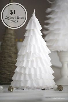 DIY coffee filter trees for decorations at Christmas party. Ward Christmas Party, Noel Christmas, Winter Christmas, Christmas Coffee, White Christmas Party Theme, Christmas Tree Spray, Christmas Ornament, Frozen Christmas Tree, Christmas Tree Crafts