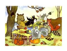 Woodland Animals Greeting Card, Bear Rabbit Fox Crow Raccoons Squirrels Opossum Mice Watercolor Illustration Print. $3.50, via Etsy.