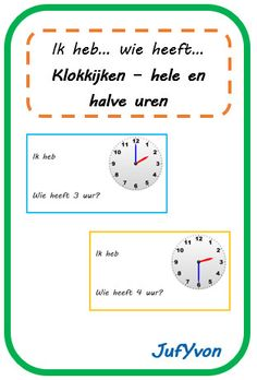 © JufYvon: I have, who has . Clock watching - full hour and half hour Math Clock, Clock For Kids, Cooperative Learning, Business Education, Play To Learn, Grade 1, Curriculum, Classroom, Teacher